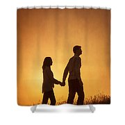 Couple Holding Hands At Sunset Shower Curtain