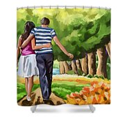Couple In The Park 01 Shower Curtain