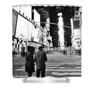 Couple In Times Square Shower Curtain
