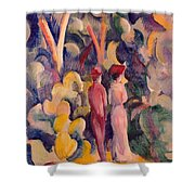 Couple On The Forest Track Shower Curtain