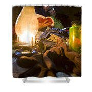 Couple Reading By Lantern, India Shower Curtain