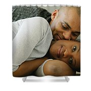 Couple Snuggles Shower Curtain by Darren Greenwood