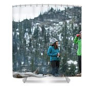 Couple Standing By A Campfire Shower Curtain