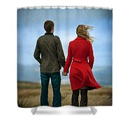 Couple Standing On Windy Moorland Shower Curtain