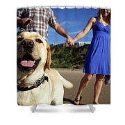 Couple Take Their Dogs For A Walk Shower Curtain