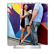 Couple Talking Shower Curtain