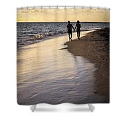Couple Walking On A Beach Shower Curtain