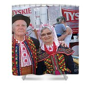 Couples In Polish National Costumes Shower Curtain