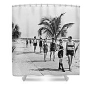 Couples Strolling Along The Pathway On The Beach. Shower Curtain
