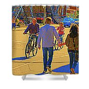 Couples Summer In The City Walking Biking Strolling With Baby Carriage Art Of Montreal Street Scene Shower Curtain