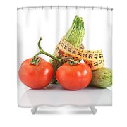 Courgettes And Tomatoes Shower Curtain