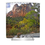 Court Of The Patriarchs Zion Np Utah Shower Curtain by Tim Fitzharris