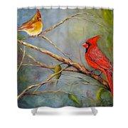 Courting Cardinals, Birds Shower Curtain