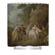 Courtly Scene In A Park, C.1730-35 Shower Curtain