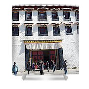 Courtyard Entry To Potala Palace In Lhasa-tibet Shower Curtain