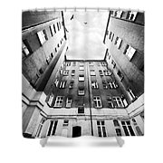 Courtyard In Black And White Shower Curtain