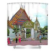 Courtyard In Wat Po In Bangkok-thailand Shower Curtain