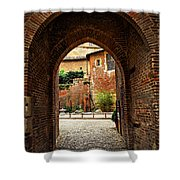 Courtyard Of Cathedral Of Ste-cecile In Albi France Shower Curtain