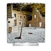 Courtyard Of Spruce Tree House On Chapin Mesa In Mesa Verde National Park-colorado  Shower Curtain