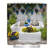 Courtyard With Washing Boards Shower Curtain