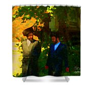 Covenant Conversation Two Men Of God Hasidic Community Montreal City Scene Rabbinical Art Carole Spa Shower Curtain