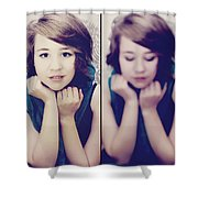 Cover Girl Diptych Shower Curtain