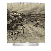 Coverack Harbour  Shower Curtain