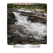 Covered Bridge And Waterfall Shower Curtain by Edward Fielding