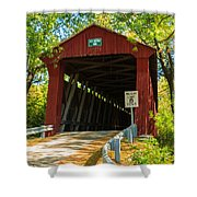 Covered Bridge In Fall Shower Curtain