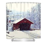 Covered Bridge In Winter Shower Curtain