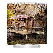 Covered Bridge On The River Walk Shower Curtain