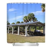 Covered Picnic Tables Shower Curtain