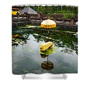 Covered Stones With Umbrella In Ritual Shower Curtain
