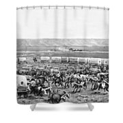 Covered Wagon Corral Shower Curtain
