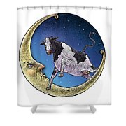 Cow And Moon Shower Curtain
