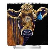 Cow Art - Lucky Number Seven Shower Curtain