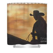Cow Girl At Sunset Shower Curtain