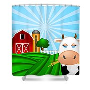 Cow On Green Pasture With Red Barn With Grain Silo  Shower Curtain