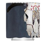 Cow Skull In Blue Shower Curtain
