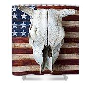 Cow Skull On Folk Art American Flag Shower Curtain by Garry Gay