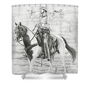 Cowboy And Horse No Fences Shower Curtain
