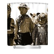Cowboy And Indian Armory Park Tucson Arizona Black And White Toned Shower Curtain
