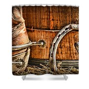 Cowboy Boots And Spurs Shower Curtain by Paul Ward