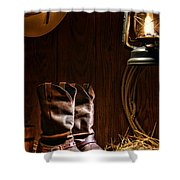 Cowboy Boots At The Ranch Shower Curtain
