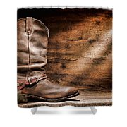 Cowboy Boots On Wood Floor Shower Curtain
