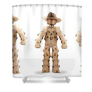 Cowboy Box Characters On White Shower Curtain