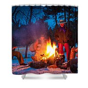 Cowboy Campfire Shower Curtain by Inge Johnsson