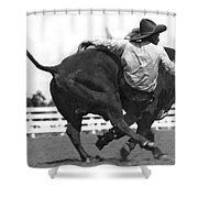 Cowboy Falling  From Bull Shower Curtain