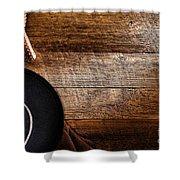 Cowboy Gear On Wood Shower Curtain