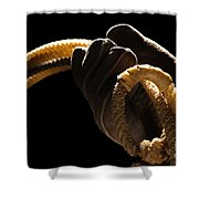 Cowboy Hand Holding Lasso Shower Curtain